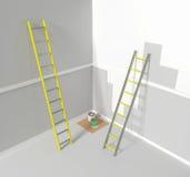 Reparera arbete, ett rum som är förberett för att måla Aluminum trappa 3d framför, illustrationen 3d Arkivfoto