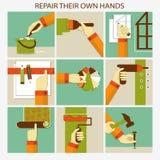 Reparera deras eget räcker Uppsättning av hem- omdana Royaltyfria Foton