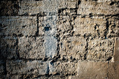Reparerat medeltida stenarbete Arkivfoto