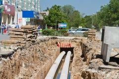 Reparieren Sie Arbeit über die RohrleitungsWasserversorgung, die Kanalisation und die Heizung I Lizenzfreie Stockfotos
