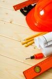 Reparieren Sie Arbeit Zeichnungen für das Errichten, Bleistifte, Schraube Stockfotografie