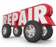Reparieren Sie Buchstabe-Rad-Auto-Mechaniker Fixing Vehicle des Wort-3d lizenzfreie abbildung