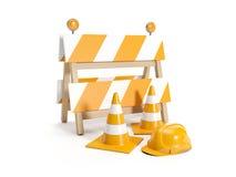 Reparieren Sie die Straßen und die Straße ersetzen. Zeichen Stockfotografie
