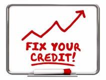 Reparieren Sie Ihren Kredit-Pfeil, der oben Verbesserungs-Wörter geht stock abbildung