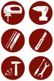 Reparieren Sie Ikonen mit Bauwerkzeugen Stockbilder