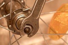 Reparieren Sie Rad des Fahrrades Stockfoto