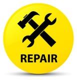 Reparieren Sie runden Knopf (des Werkzeugikonen) Gelbs Stockfotografie