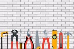 Reparieren Sie Werkzeuge und Instrumente auf Backsteinmauer-Vektor-Illustration B lizenzfreie abbildung