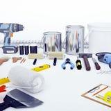 Reparieren Sie Zubehör Satz Werkzeuge und Farben für das Durchführen von Reparatur S Lizenzfreie Stockbilder
