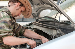 Reparing a car engine Royalty Free Stock Photography