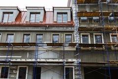 Reparo da fachada da construção imagens de stock