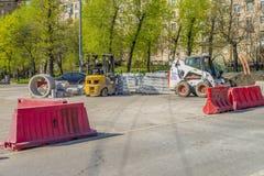 Reparo das estradas em Moscou Reparo do carro Imagem de Stock Royalty Free