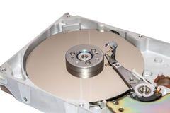 Reparo diminuto do trabalhador o disco rígido A cabeça do disco rígido é quebrada Fotografia de Stock Royalty Free