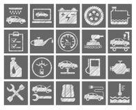 Reparo do carro e manutenção, ícones cinzentos, lápis que choca, vetor ilustração do vetor