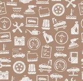 Reparo do carro e manutenção, teste padrão sem emenda, marrom, lápis que choca, vetor ilustração royalty free