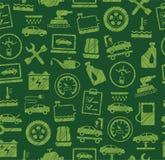 Reparo do carro e manutenção, teste padrão sem emenda, verde, colorido, lápis que choca, vetor ilustração stock