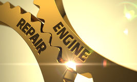 Reparo do motor nas engrenagens metálicas douradas da roda denteada 3d Foto de Stock Royalty Free