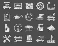 Reparo e manutenção do carro, ícones brancos, protegendo o lápis, vetor ilustração stock
