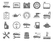 Reparo e manutenção do carro, ícones da um-cor, protegendo o lápis, vetor ilustração do vetor