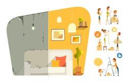 Reparo liso da sala do apartamento da casa feliz da casa familiar Antes e a Fotografia de Stock Royalty Free