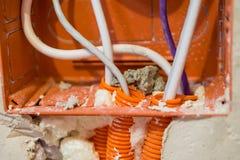 Reparo, renovação, eletricidade e instalação do fio que renova a sala foto de stock
