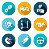 Reparos do carro e ícones da manutenção ajustados Ilustração do vetor Imagens de Stock