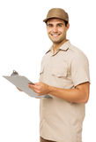 Repartidor confiado que sostiene el tablero fotos de archivo