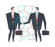 Reparto de asunto Acuerdo de los hombres de negocios Burbuja para el texto Communicat stock de ilustración
