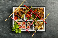 Repas à emporter ou à la maison emballé de partie de Bento Single dans le cuision japonais photo libre de droits