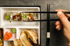 Repas à emporter ou à la maison emballé de partie de Bento Single dans le cuision japonais image libre de droits