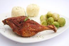 Repas avec de la viande de canard Photographie stock