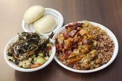 Repas complet asiatique d'aliments de préparation rapide images stock