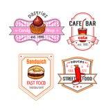 Repas de casse-croûte de vecteur d'aliments de préparation rapide et icônes de desserts réglées Photo stock