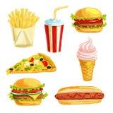 Repas de déjeuner d'aliments de préparation rapide avec l'ensemble d'aquarelle de dessert Image stock