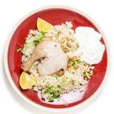 Repas de pilaf de poulet d'en haut Photographie stock libre de droits