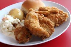 Repas de poulet frit - vue haute proche Photographie stock