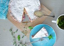 Repas de tarte aux cerises de crème anglaise Photo stock