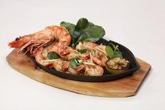 Repas dinant fin, crevettes délicieuses Image libre de droits