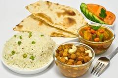 Repas indien avec des pois chiches Photographie stock libre de droits
