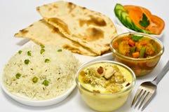 Repas indien avec le poulet Korma Images libres de droits