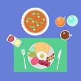 Repas réglé de conception de vecteur de nourriture de petit déjeuner Photographie stock