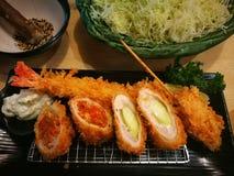 Repas réglé de tonkatsu japonais Images libres de droits