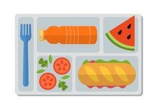 Repas scolaire dans le style plat Images libres de droits