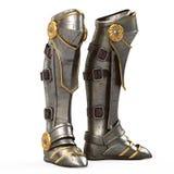 Repassez la haute armure de chevalier de bottes d'imagination d'isolement sur le fond blanc illustration 3D Images libres de droits