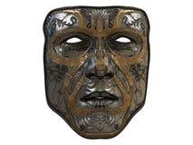 Repassez le masque avec des biseaux d'ornement et d'or sur un fond blanc d'isolement illustration 3D Images libres de droits