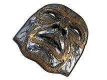Repassez le masque avec des biseaux d'ornement et d'or sur un fond blanc d'isolement illustration 3D Image libre de droits