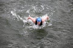 Repassez le nageur d'homme dans le chapeau et le wetsuit respirant en exécutant la course de papillon Photographie stock