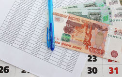 Repayment of the loan on time. Schedule of payment of the loan and the money Stock Photo