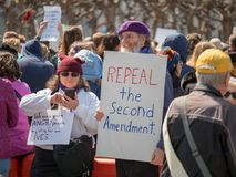 Repeal second amendment sign at March for Our Lives rally stock images