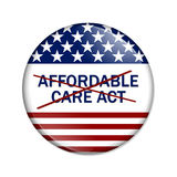 Repealing and replacing the Affordable Care Act healthcare insurance. American election button with words Affordable Care Act crossed out over white stock illustration